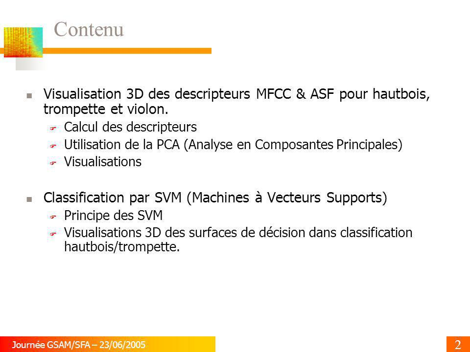 Contenu Visualisation 3D des descripteurs MFCC & ASF pour hautbois, trompette et violon. Calcul des descripteurs.