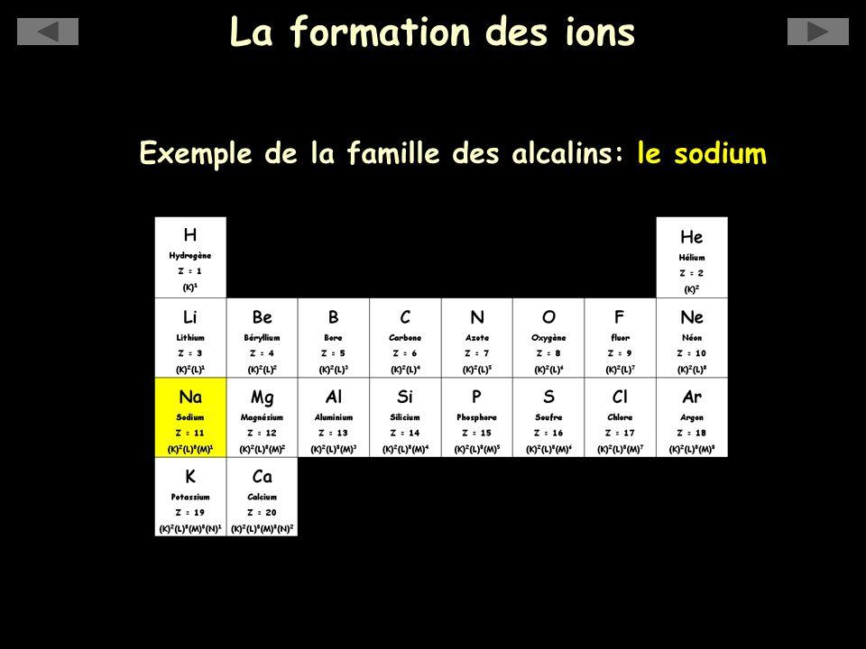 Exemple de la famille des alcalins: le sodium
