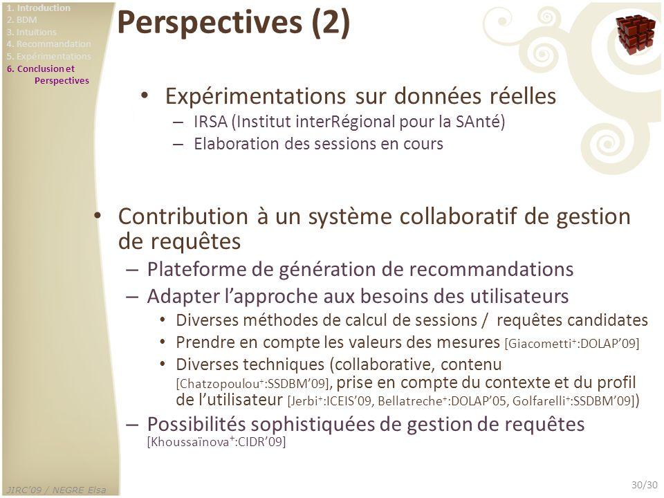 Perspectives (2) Expérimentations sur données réelles