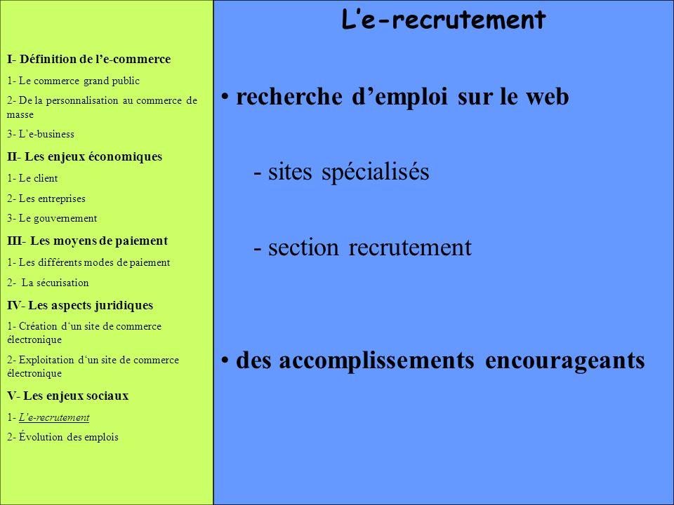 recherche d'emploi sur le web - sites spécialisés