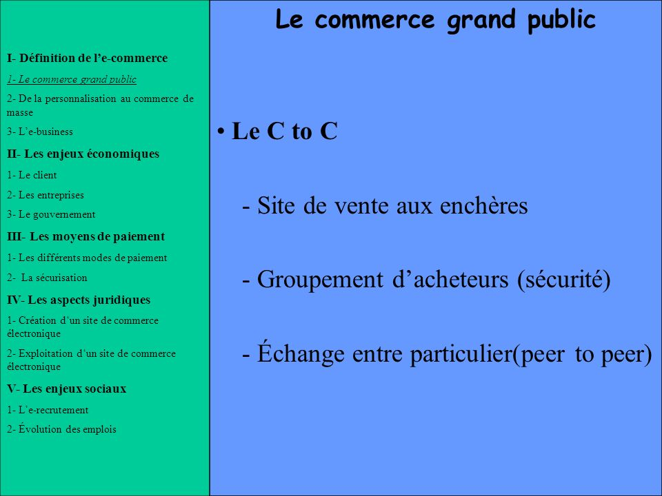 Le commerce grand public