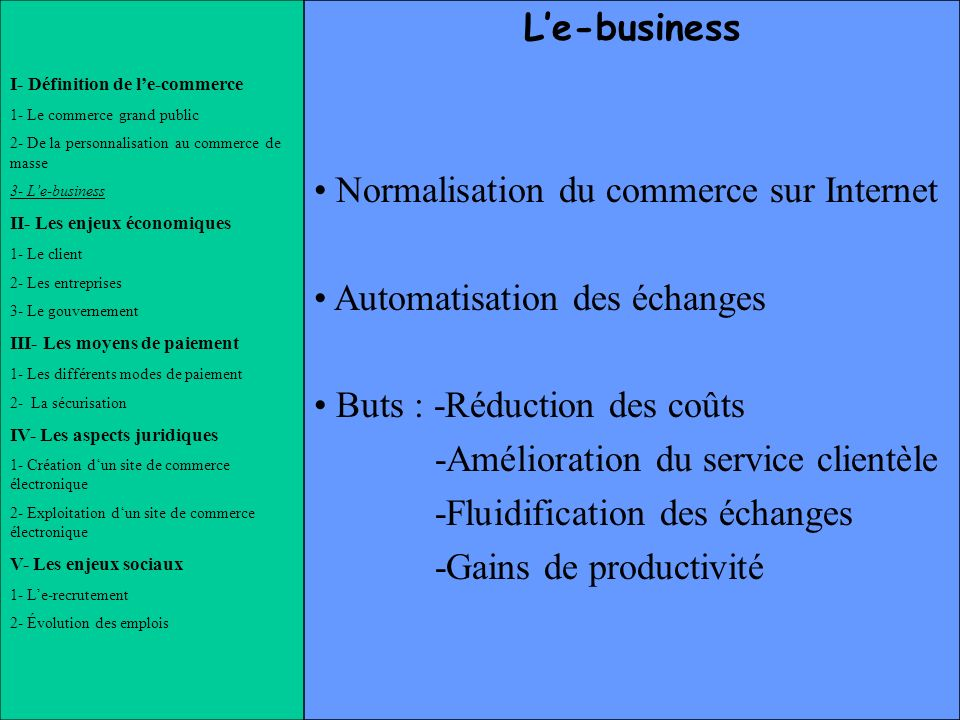 Normalisation du commerce sur Internet Automatisation des échanges
