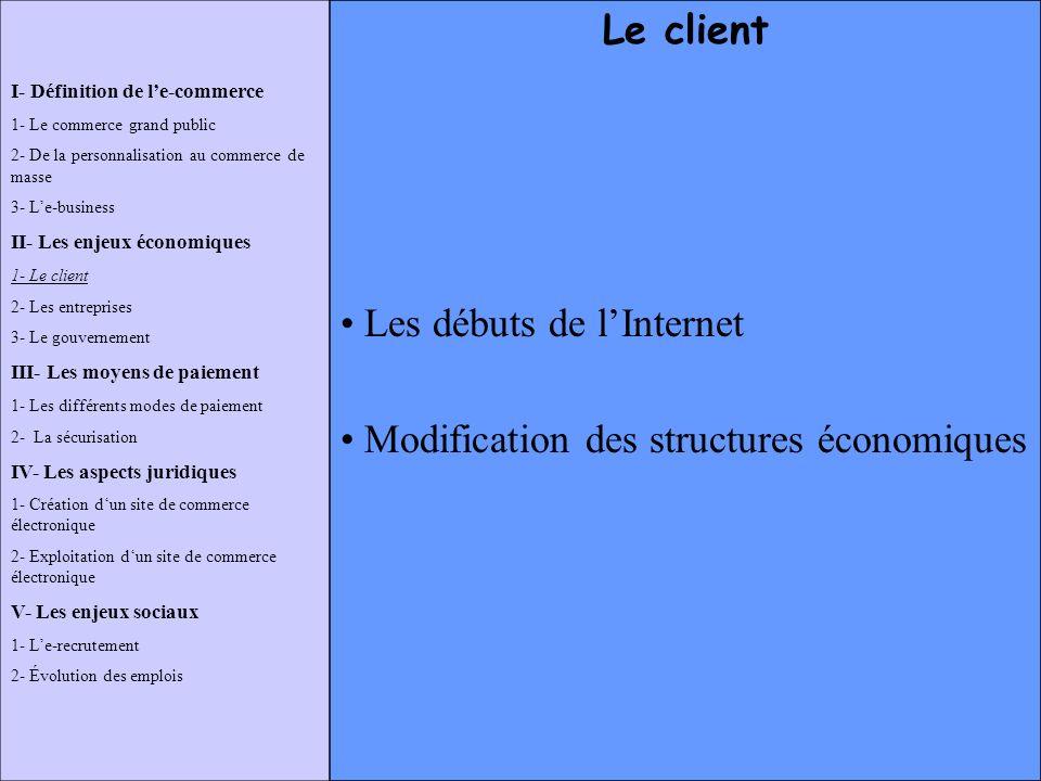 Les débuts de l'Internet Modification des structures économiques