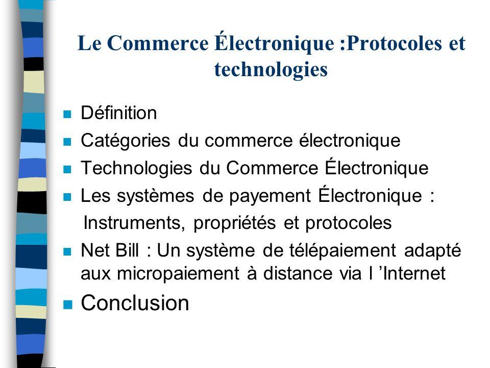 Le Commerce Électronique :Protocoles et technologies