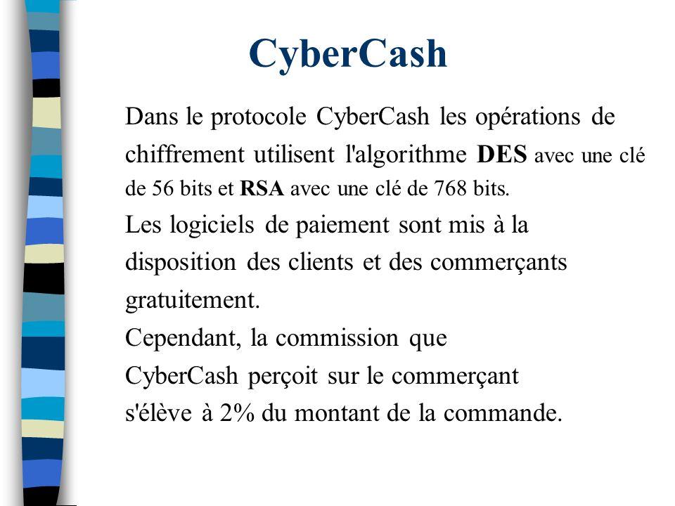 CyberCash Dans le protocole CyberCash les opérations de