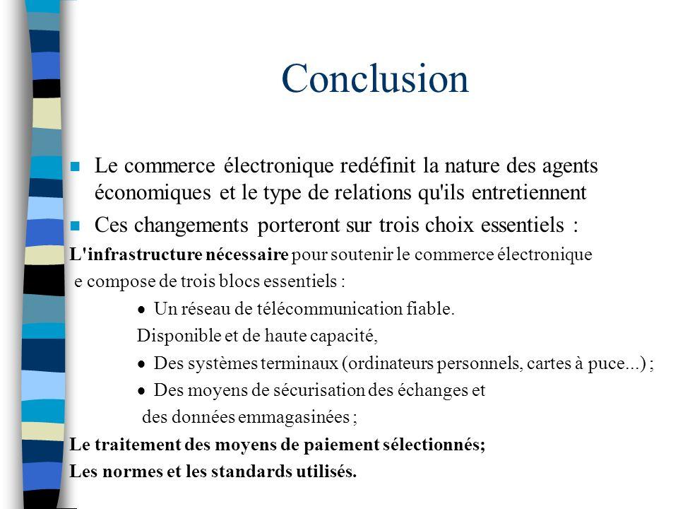 Conclusion Le commerce électronique redéfinit la nature des agents économiques et le type de relations qu ils entretiennent.