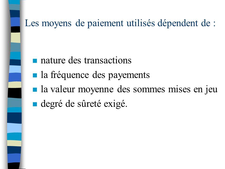 Les moyens de paiement utilisés dépendent de :