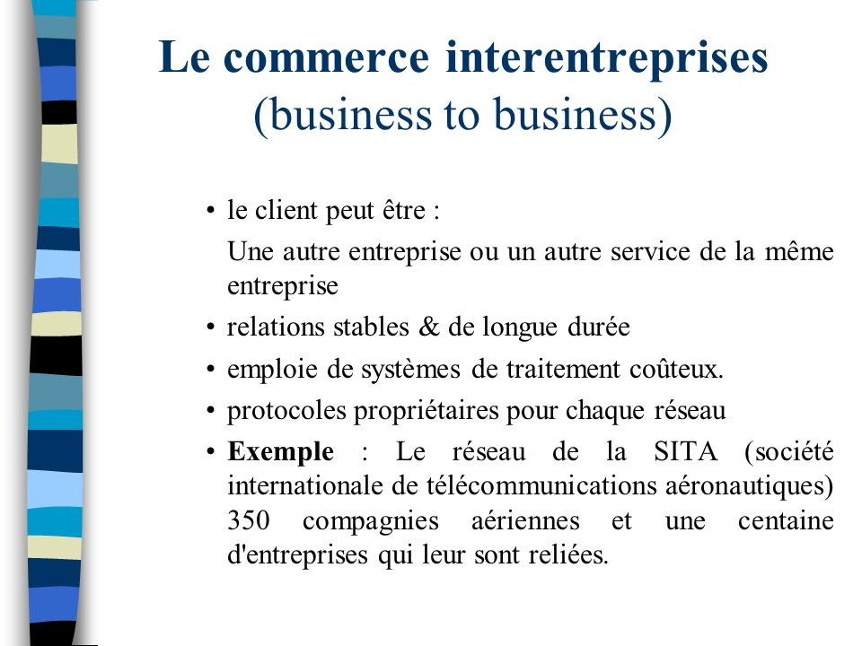 Le commerce interentreprises (business to business)