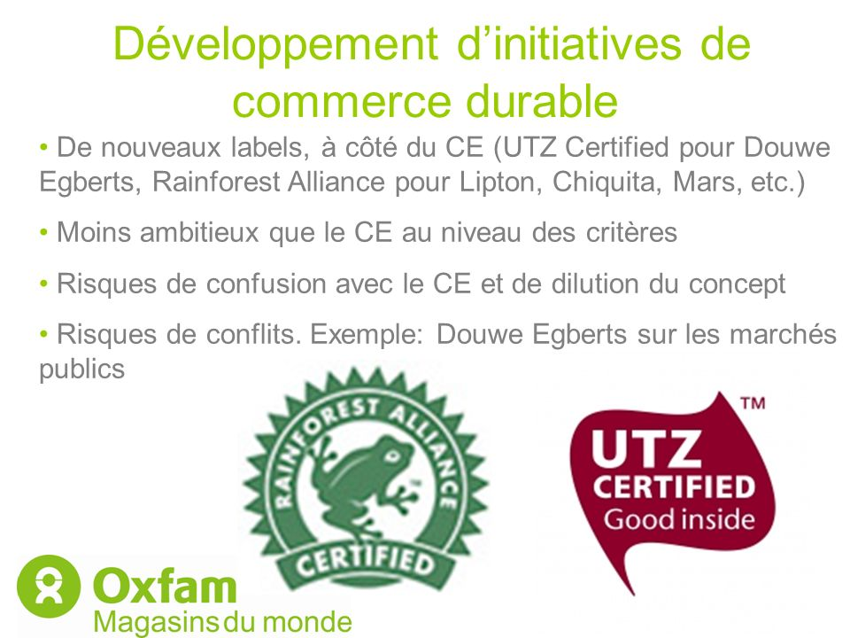 Développement d'initiatives de commerce durable