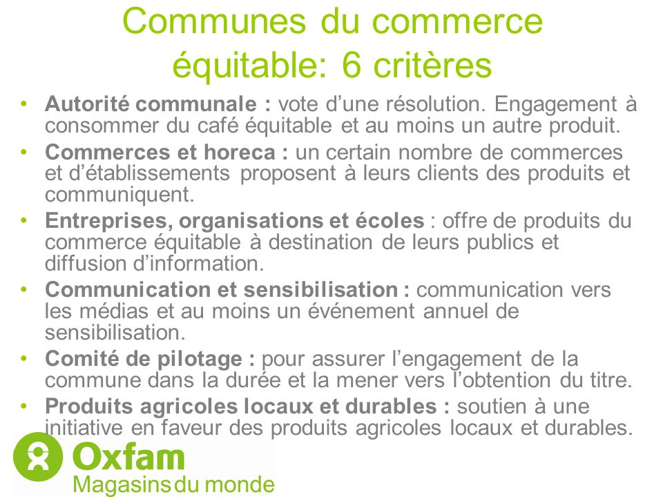 Communes du commerce équitable: 6 critères