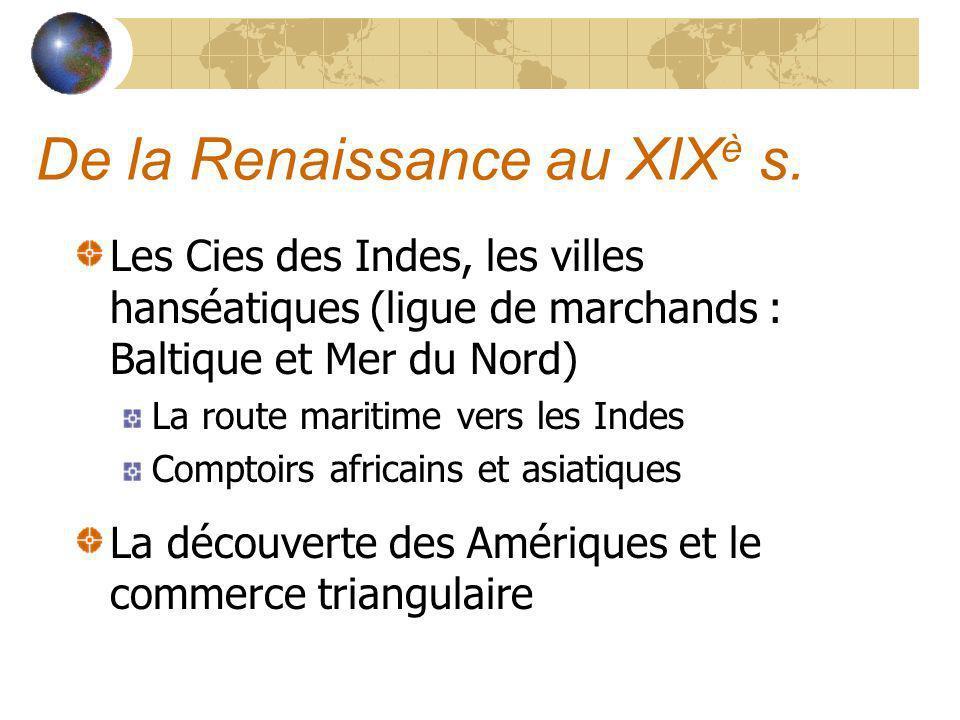 De la Renaissance au XIXè s.