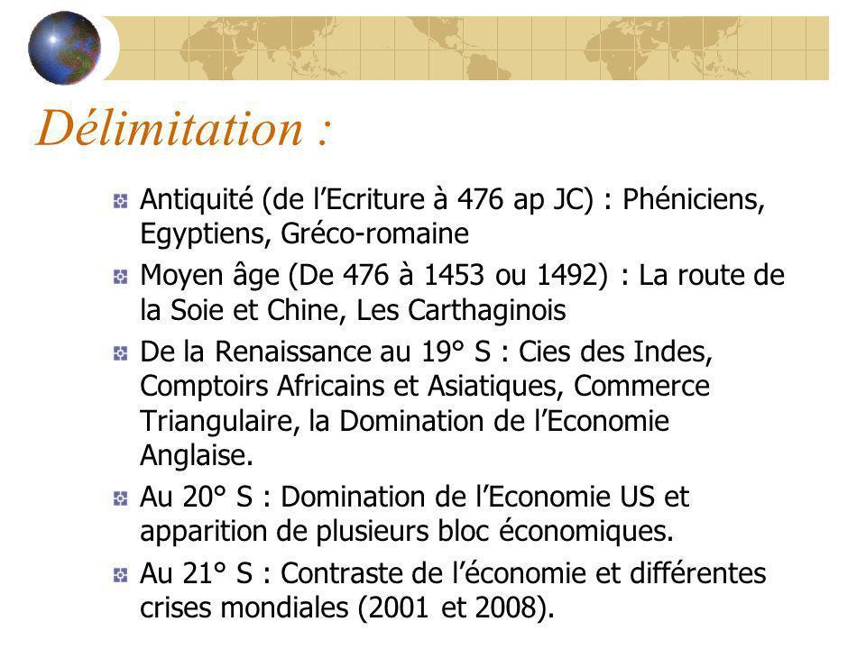 Délimitation : Antiquité (de l'Ecriture à 476 ap JC) : Phéniciens, Egyptiens, Gréco-romaine.
