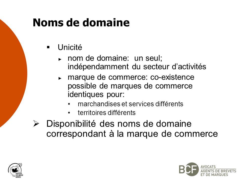 Noms de domaine Unicité. nom de domaine: un seul; indépendamment du secteur d'activités.