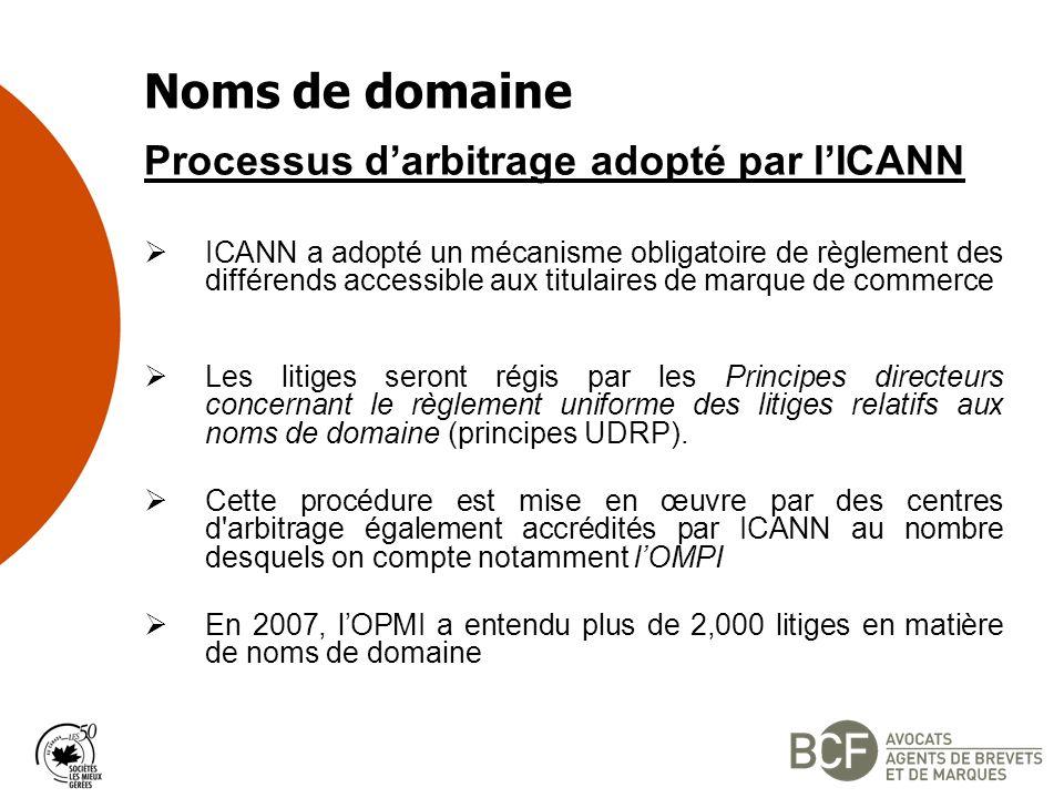 Noms de domaine Processus d'arbitrage adopté par l'ICANN
