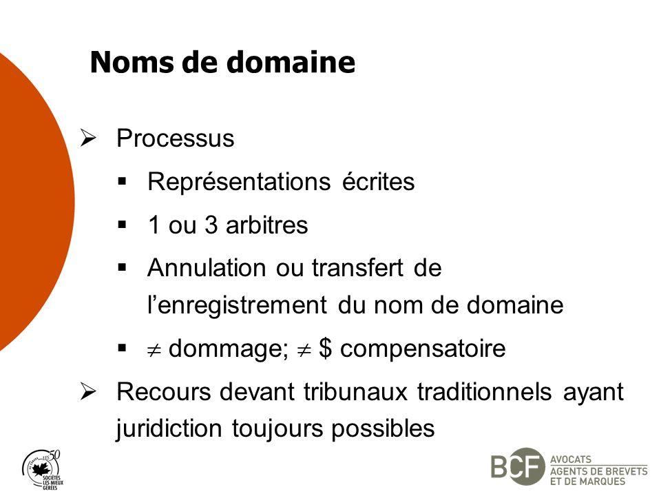 Noms de domaine Processus Représentations écrites 1 ou 3 arbitres