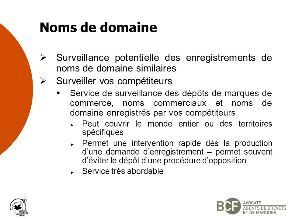 Noms de domaine Surveillance potentielle des enregistrements de noms de domaine similaires. Surveiller vos compétiteurs.