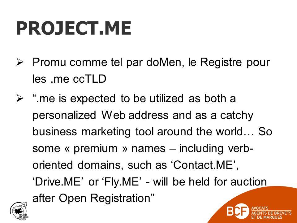 PROJECT.ME Promu comme tel par doMen, le Registre pour les .me ccTLD