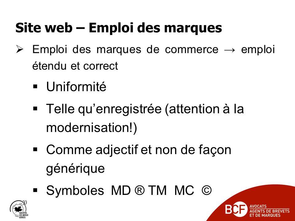 Site web – Emploi des marques