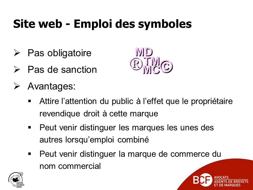 Site web - Emploi des symboles