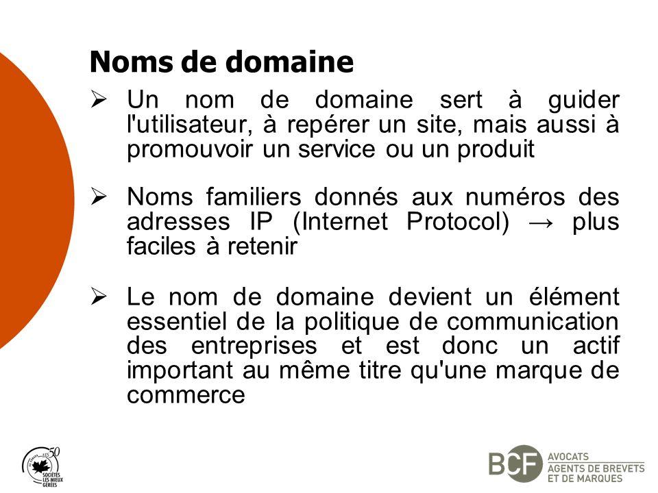 Noms de domaine Un nom de domaine sert à guider l utilisateur, à repérer un site, mais aussi à promouvoir un service ou un produit.