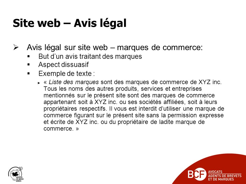 Site web – Avis légal Avis légal sur site web – marques de commerce: