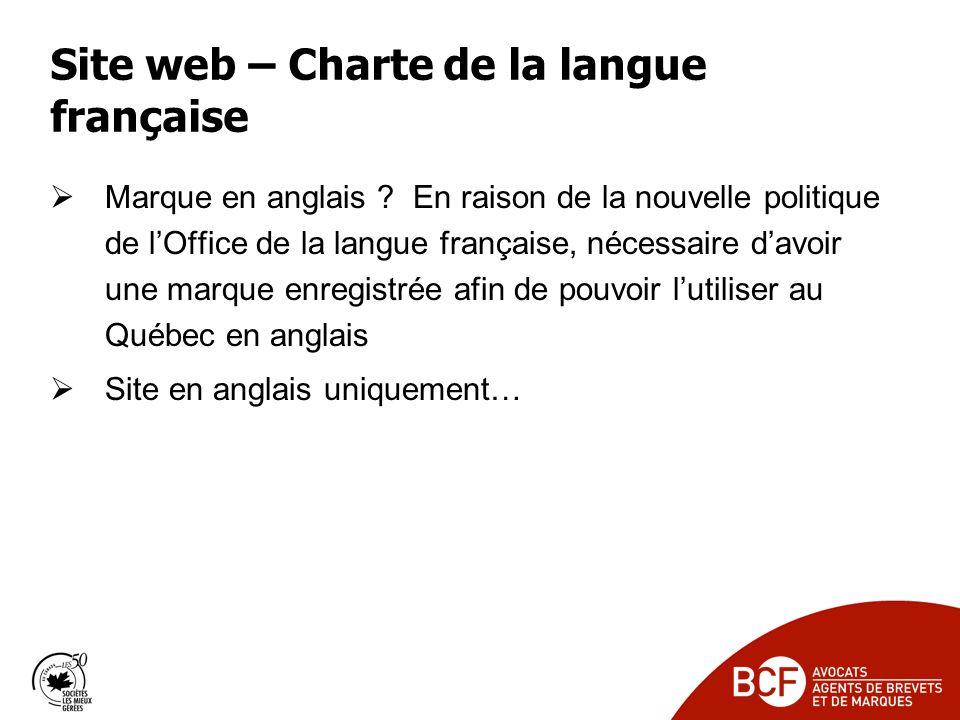 Site web – Charte de la langue française