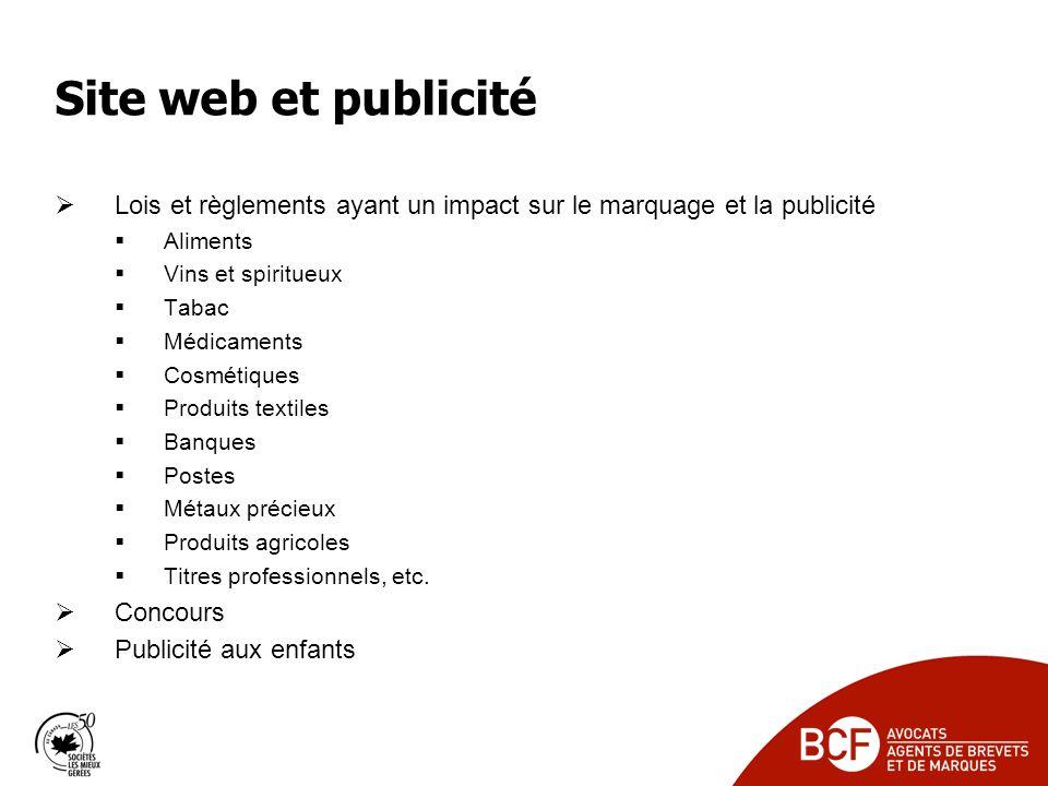 Site web et publicité Lois et règlements ayant un impact sur le marquage et la publicité. Aliments.