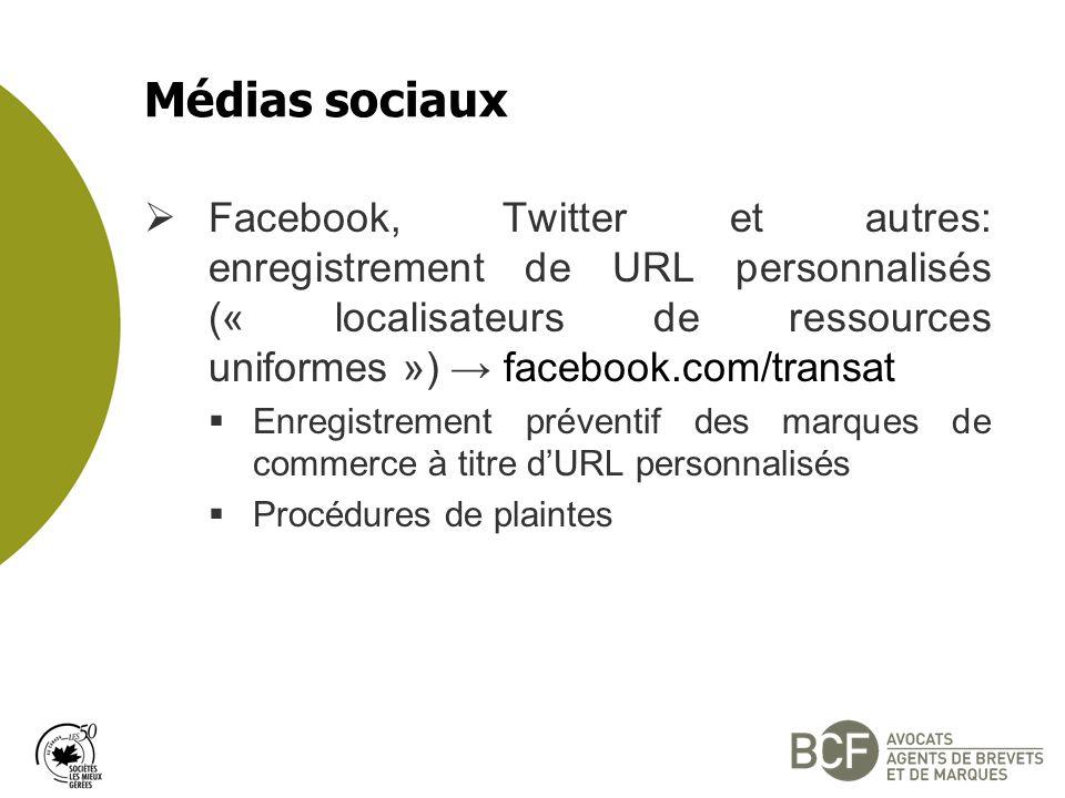 Médias sociaux Facebook, Twitter et autres: enregistrement de URL personnalisés (« localisateurs de ressources uniformes ») → facebook.com/transat.