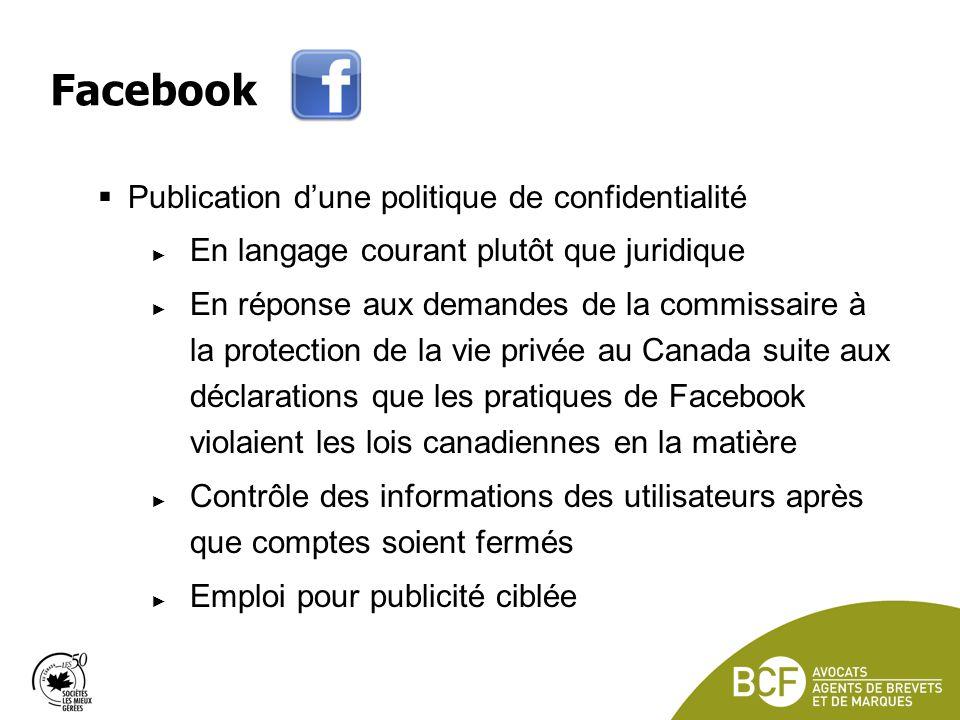 Facebook Publication d'une politique de confidentialité