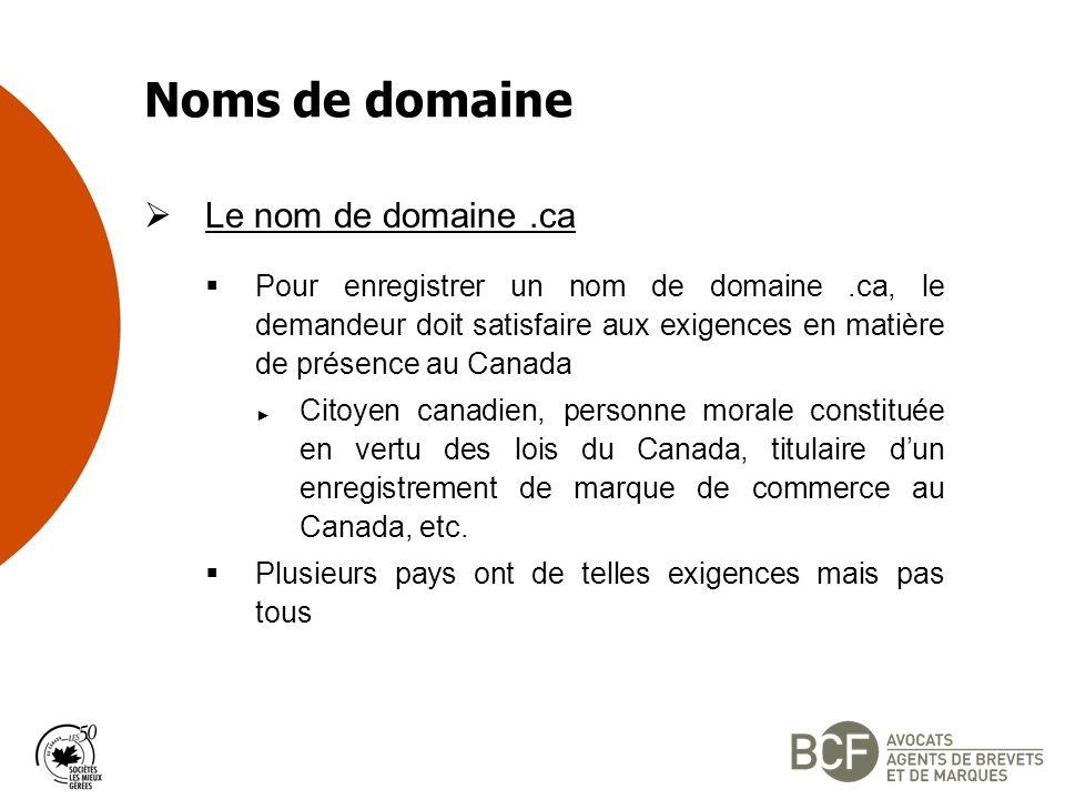 Noms de domaine Le nom de domaine .ca