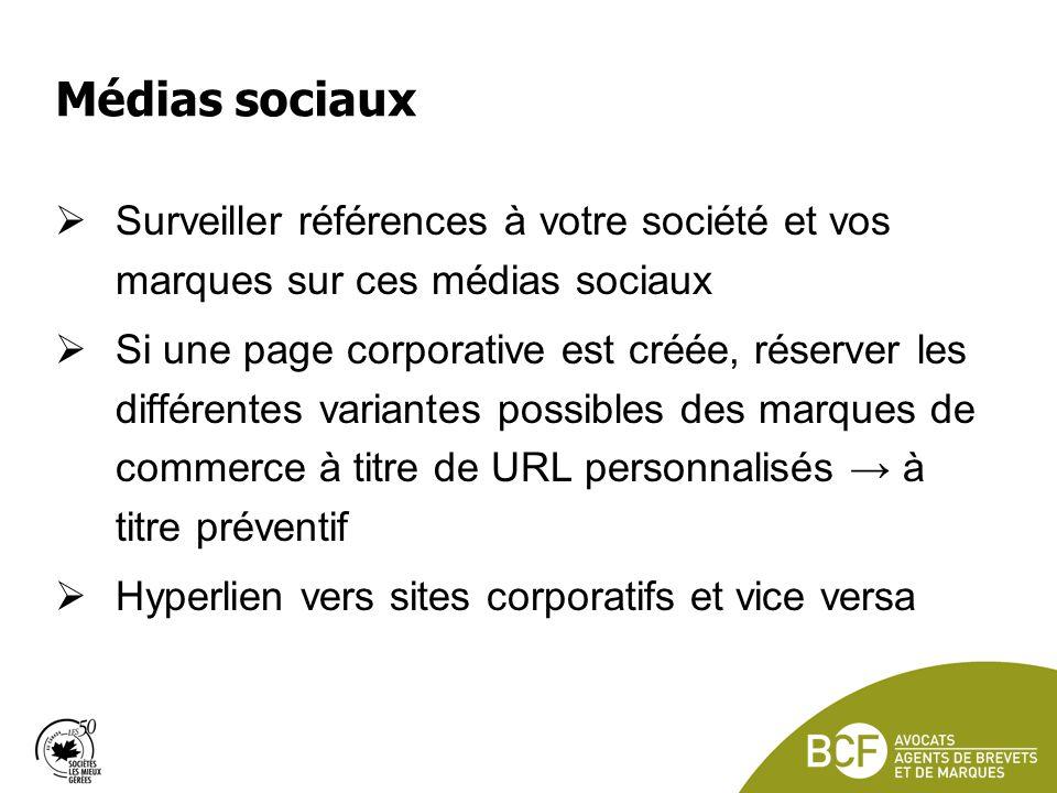 Médias sociaux Surveiller références à votre société et vos marques sur ces médias sociaux.