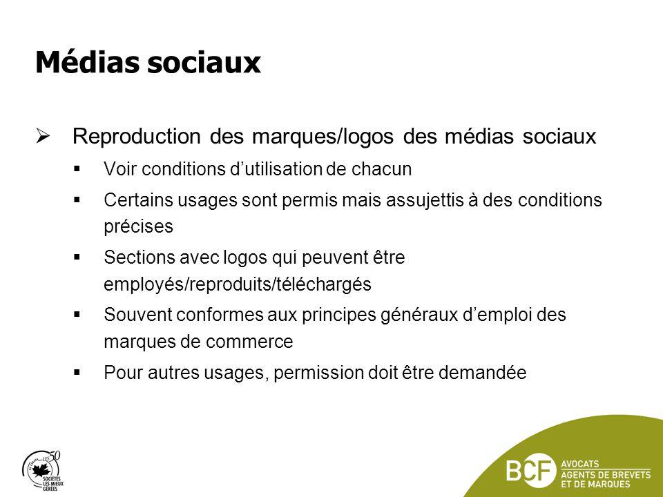 Médias sociaux Reproduction des marques/logos des médias sociaux