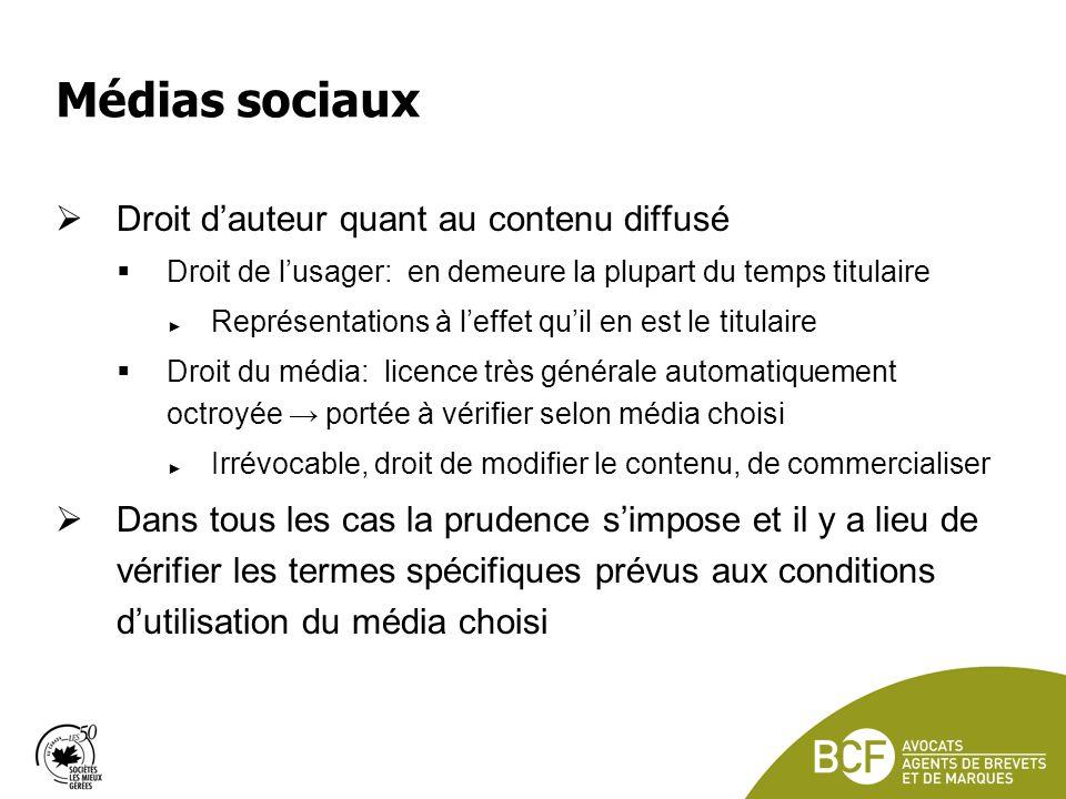 Médias sociaux Droit d'auteur quant au contenu diffusé