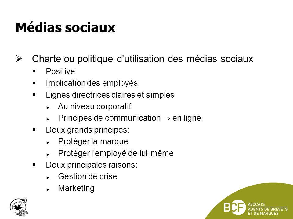 Médias sociaux Charte ou politique d'utilisation des médias sociaux