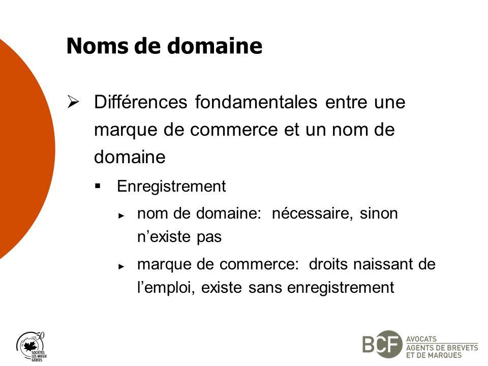Noms de domaine Différences fondamentales entre une marque de commerce et un nom de domaine. Enregistrement.