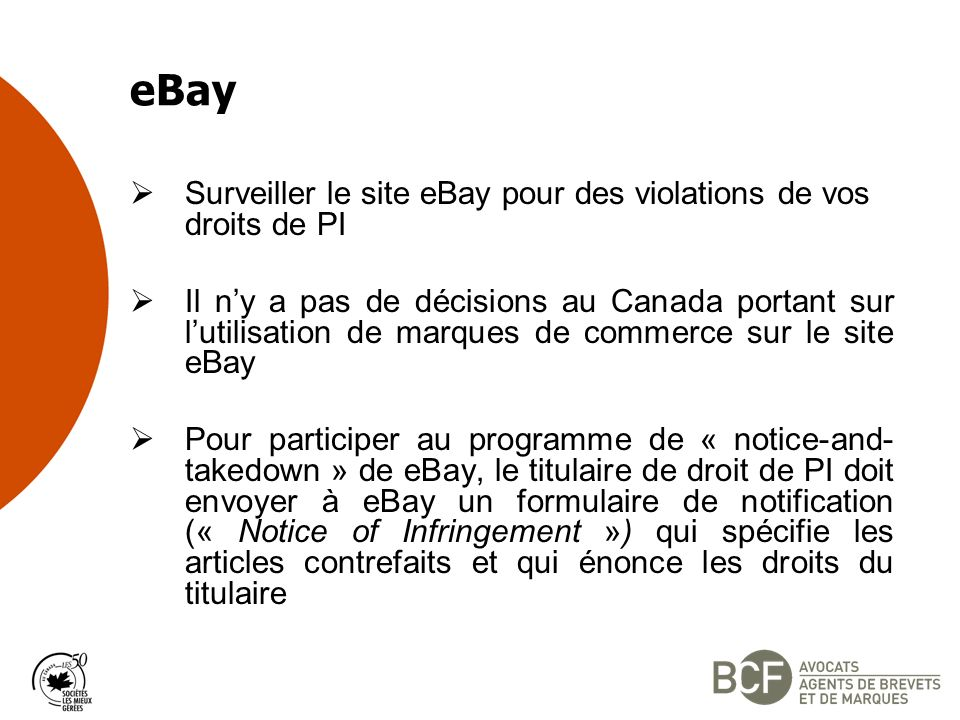 eBay Surveiller le site eBay pour des violations de vos droits de PI