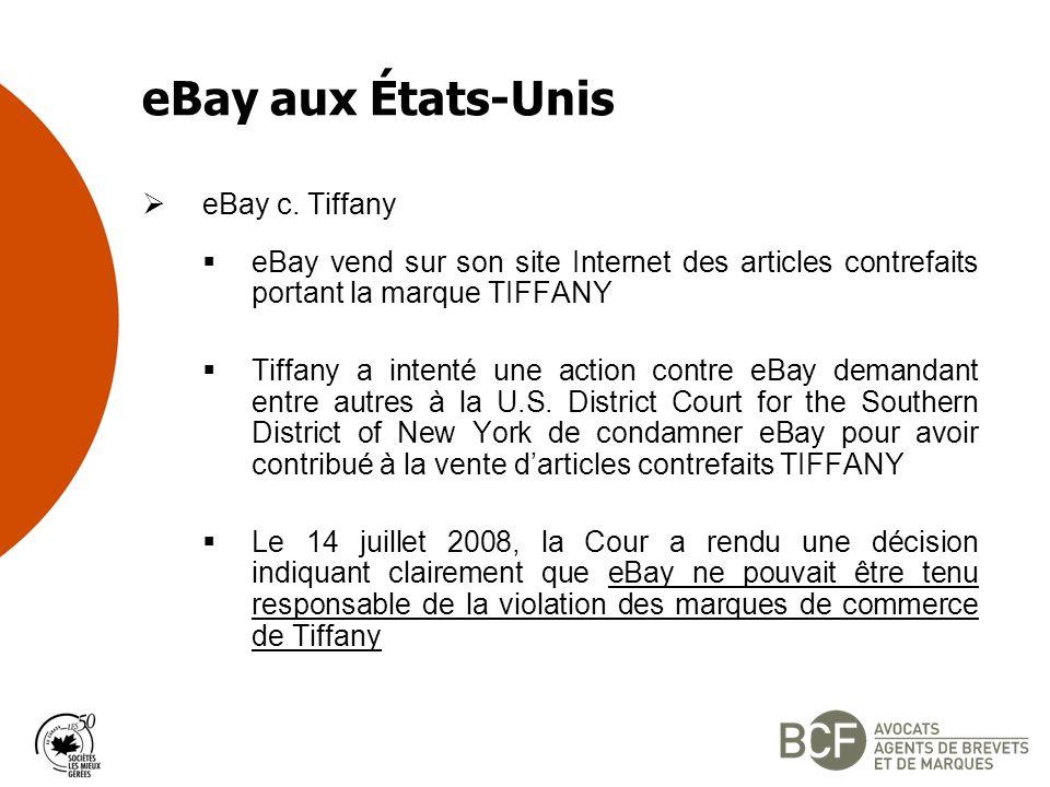 eBay aux États-Unis eBay c. Tiffany