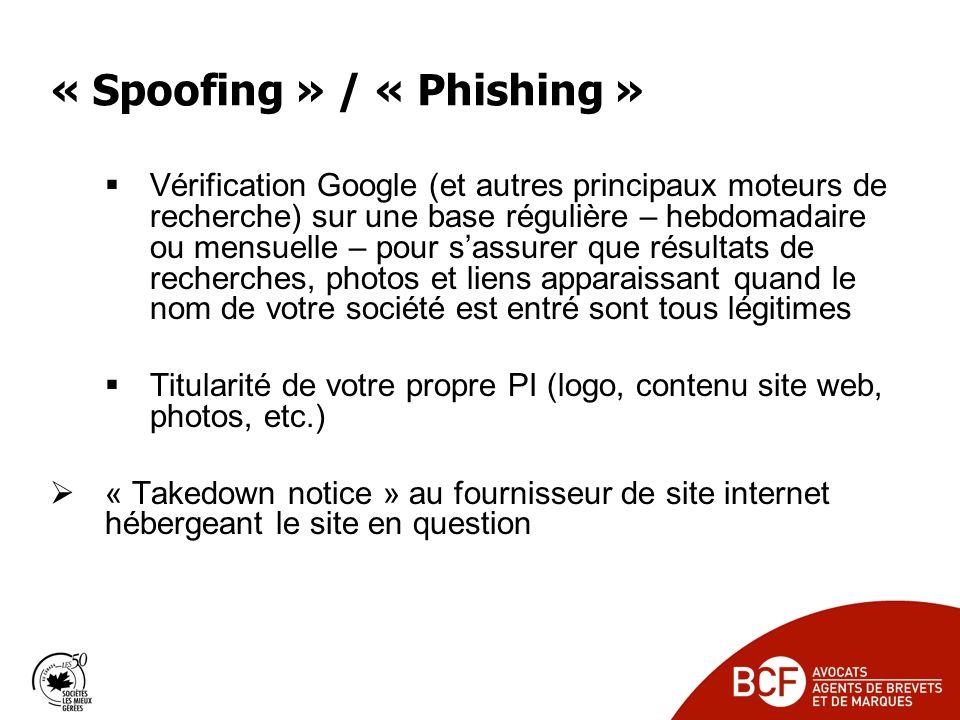 « Spoofing » / « Phishing »