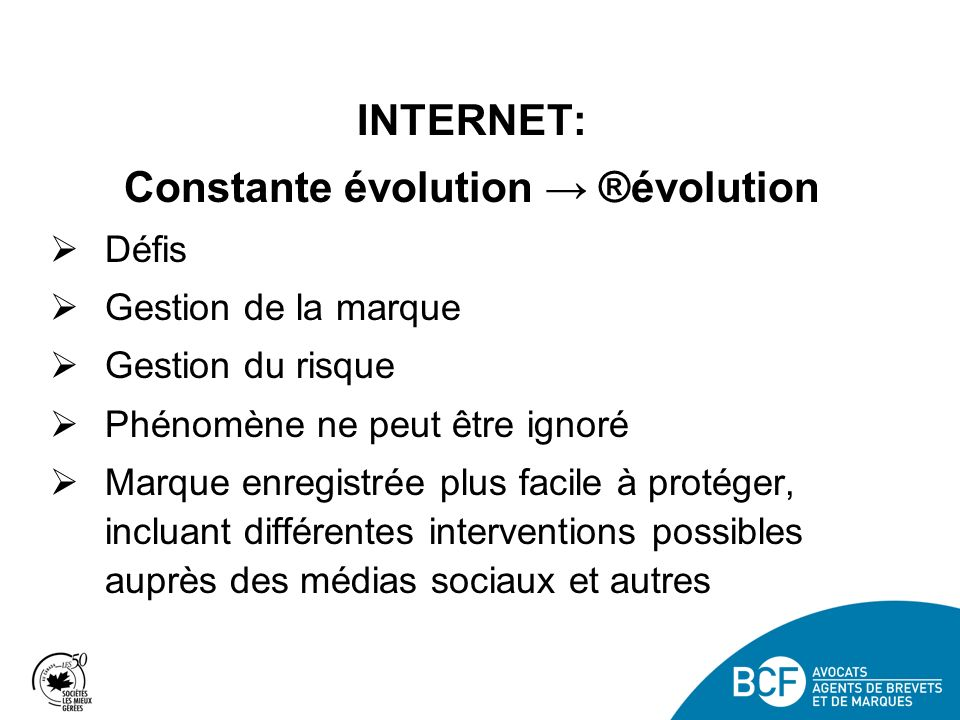 Constante évolution → ®évolution