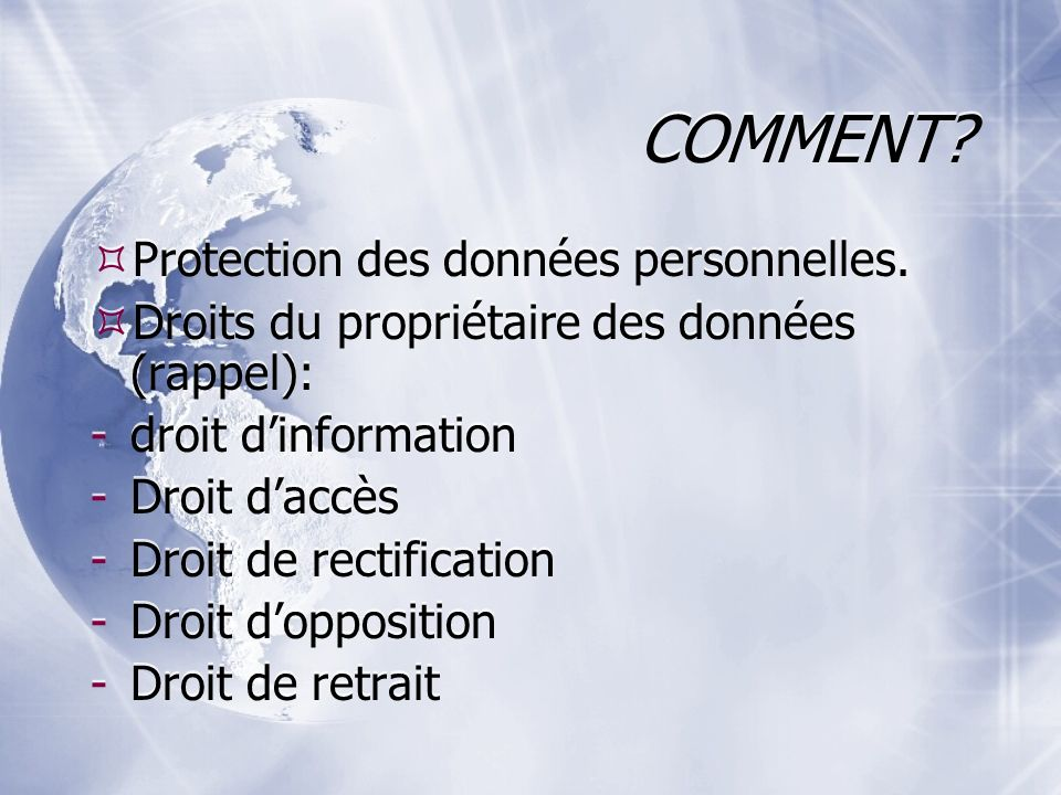 COMMENT Protection des données personnelles.