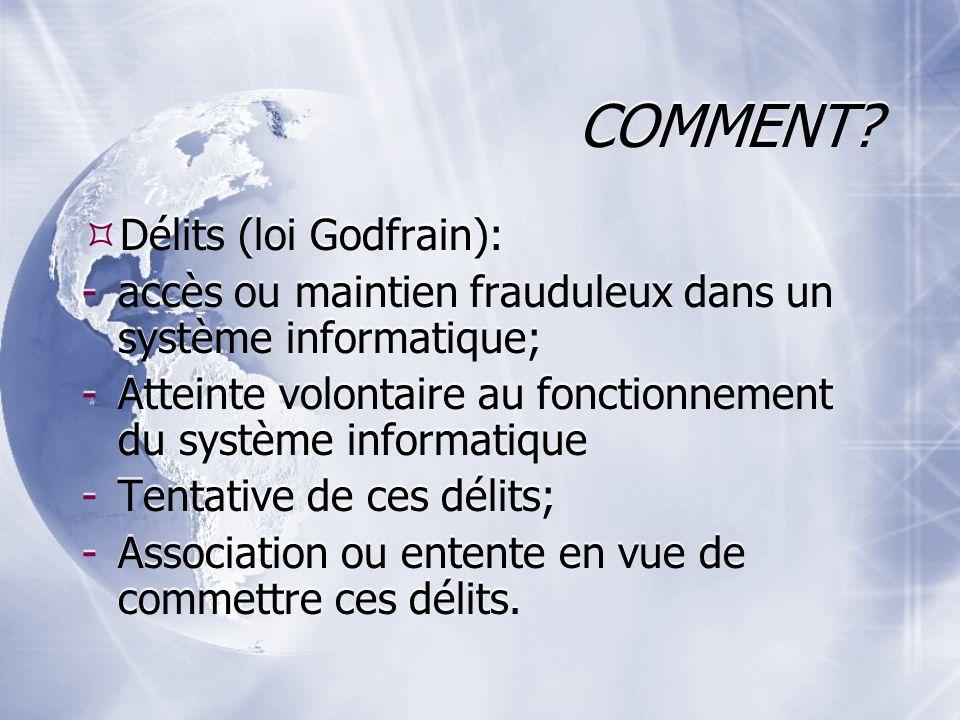 COMMENT Délits (loi Godfrain):