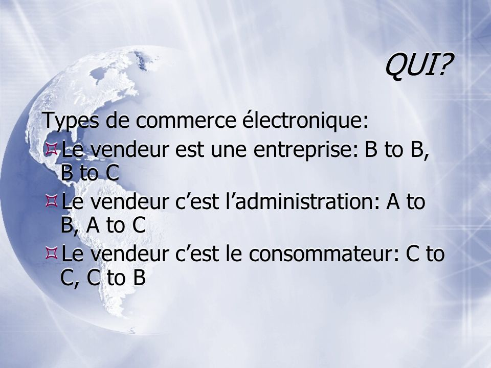QUI Types de commerce électronique: