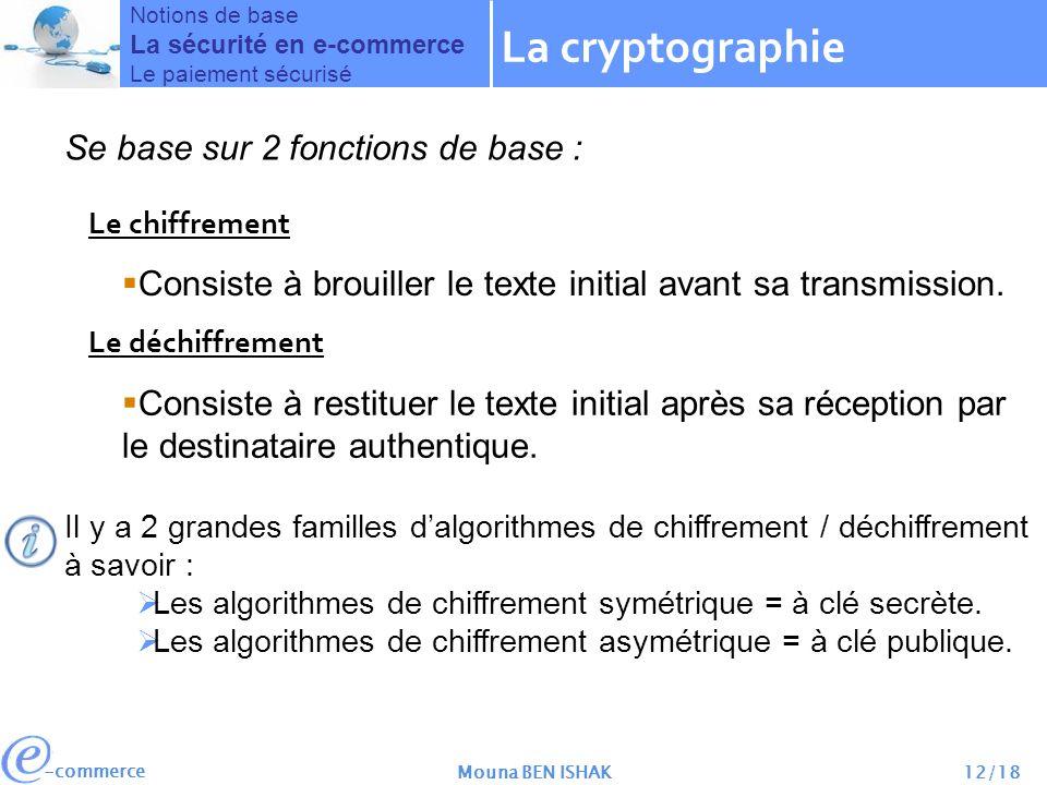 La cryptographie Se base sur 2 fonctions de base :