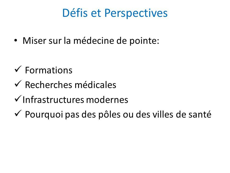 Défis et Perspectives Miser sur la médecine de pointe: Formations