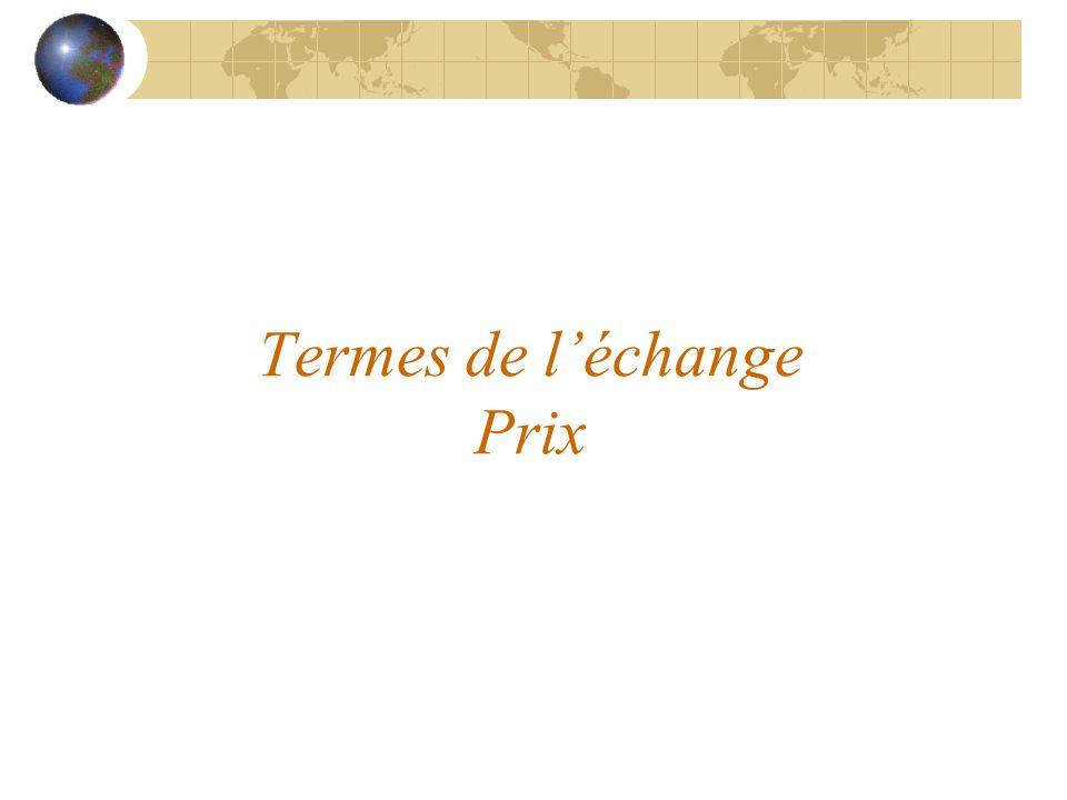 Termes de l'échange Prix