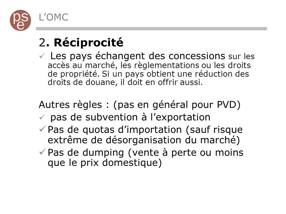 2. Réciprocité L'OMC Autres règles : (pas en général pour PVD)