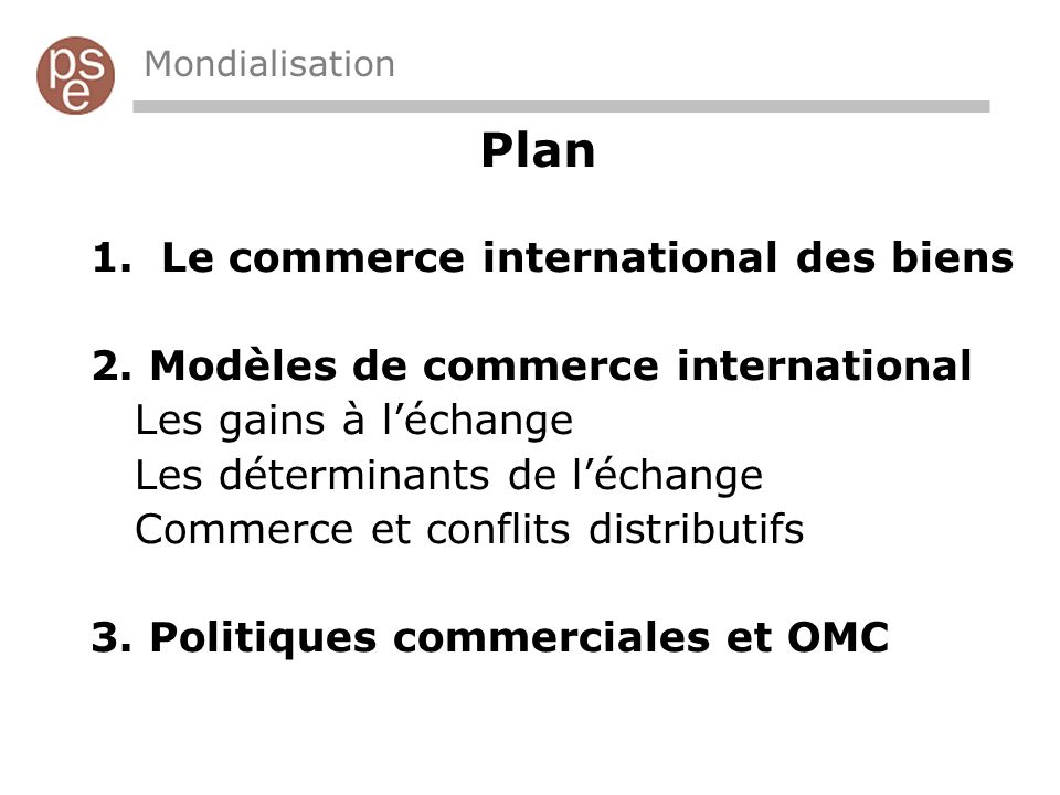 Plan Le commerce international des biens