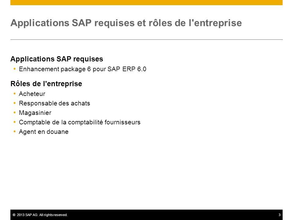 Applications SAP requises et rôles de l entreprise