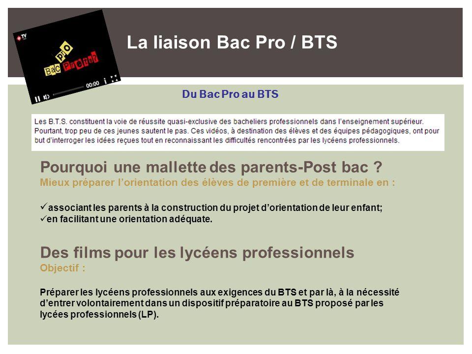 La liaison Bac Pro / BTS Pourquoi une mallette des parents-Post bac