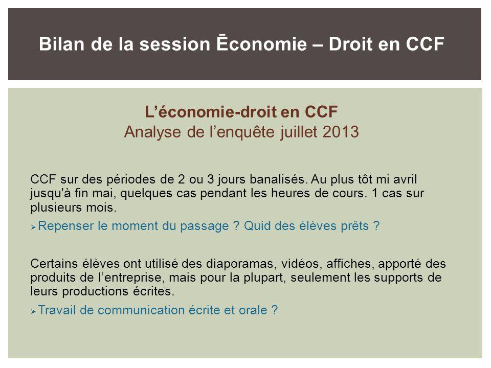 Bilan de la session Ēconomie – Droit en CCF L'économie-droit en CCF